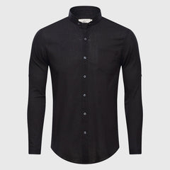 Men Summer Solid Plain Mandarin Chinese Half Collar Cotton Long Sleeve Shirt