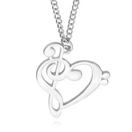Minimalist Simple Fashion Heart Shaped Musical Note Pendant Necklace