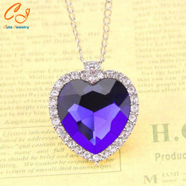 Titanic Heart of Ocean Crystal Pendant Necklace for Women
