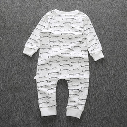 New fish printed newborn boy/girl romper with long sleeve