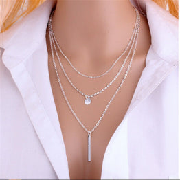 New Design Maxi Star Jewelry Multilayer Metal Strip Pendant Necklace for Women