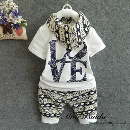Summer Style Infant Cotton Clothing sets - 3pcs(Short Sleeve + Pants + Scarf)