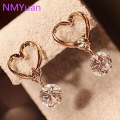 Korean Fashion Jewelry love zircon earrings for women exquisite affordable
