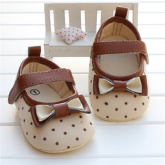 Newborn bowknot polka dot soft sole baby girl first walker shoes