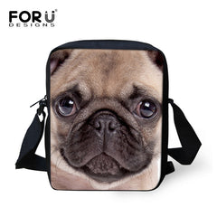 Pug Bulldog  Crossbody Unisex bag FORUDESIGNS
