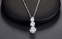 3 Pieces Cubic Zirconia Sparkling Pendant Necklaces for Women