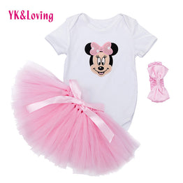 Newborn Baby Girl Pink TUTU Skirt Bodysuit +Ball Gown Clothing Set
