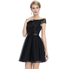 Mini Formal Prom Party Gown Sexy Black Off The Shoulder Cocktail Dress