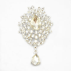 Bright Silver Plated Waterdrop Austrian Crystal Brooches for Women