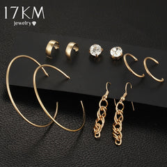 Crystal Alloy Vintage Brincos Statement 5 Pairs Earring Set