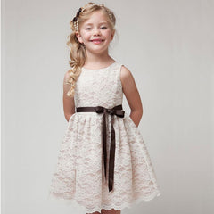 Beautiful Lace design White Dress for Girls
