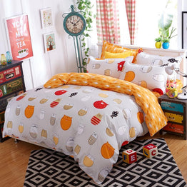 Lovely Cat Cartoon kids bedding set Bed Linen 3d 3/4pcs
