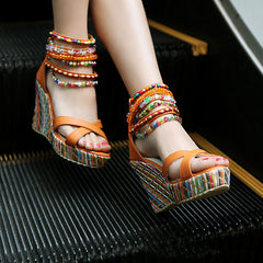 Bohemian Ethnic Style Hand-beaded Peep Toe Wedges for Women