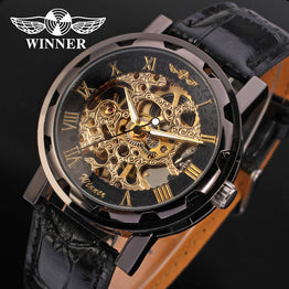 Roman Number Hand-wind Leather Mechanical Wristwatche for Man