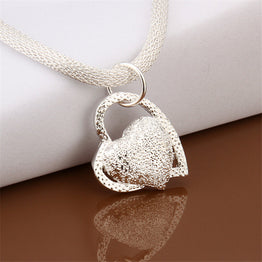 Hot Silver Plated Double Heart Summer Style Pendant Necklace for Women