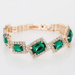Gold Plated Crystal Party Wear Charm Bracelets for Women