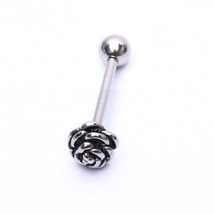 Stainless Steel Barbell Tongue Flower Design Tongue Piercing Ring