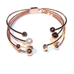 Open Design Classic Multi-layer Rose Gold Plated Cuff Bracelets For Women
