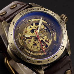 Men's Retro Skeleton Automatic Mechanical Leather Sport  Wrist Watch