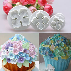 3pcs Home Set DIY Bakeware Flower Plunger Cutter Molder