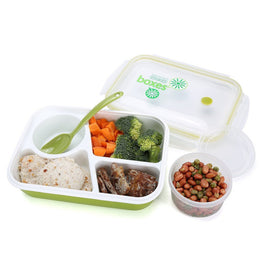 Silicone Leakproof Healthy 3 compartment Lunch Boxes with Spoon