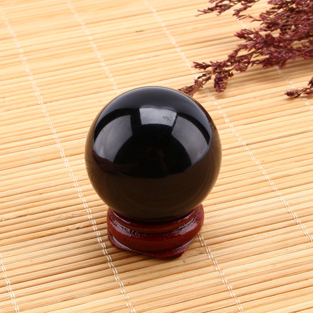 Asian Rare 40mm Natural Black Sphere Large Crystal Ball Healing Stone With Stand