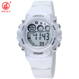 OHSEN Sports Plastic Strap LED Digital Jelly Color Water Proof Watch for Women