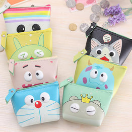 Creative PU Leather Cartoon Animation Zipper Purse Wallet For Kids Gift