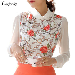 Women blouses collar print white chiffon long sleeve shirts