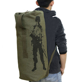 Men's Casual Travel Luggage Army Bucket Bag Multifunctional Military Canvas Backpack
