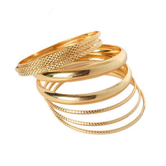 Gold Plated Filled Multilayer Charming Bangles Set For Women