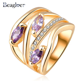 Unique Multi-layer Engagement Rings Genuine Gold Plated Pave Austrian Crystals Fashion Jewelry