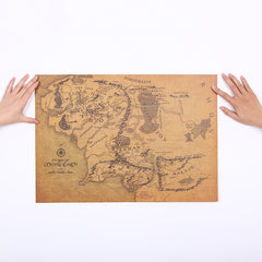 1 Pcs The Rings Middle Earth Map Retro Kraft Paper Poster Bar Decoration Wall Sticker