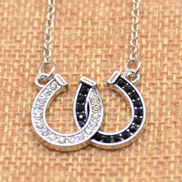 Lucky Rhinestone Double Horse Hoof Pendant Necklace for Women