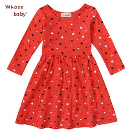 Cotton Baby Girls Dress Long-Sleeve Red Heart-Shape Winter Dresses For Kids Clothes