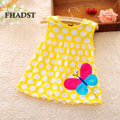 Cute Baby Girl Dotted Sleeveless A-Line Regular Cotton Dress