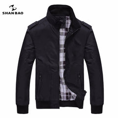 Men's casual black British style designer aviator jacket