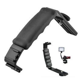 Universal Camera Grip L Bracket with 2 Standard Side Shoe Mount Video Light Flash DSLR Holder