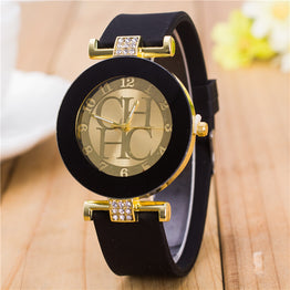 Crystal Silicone Gold Geneva Casual Quartz Watch for Women