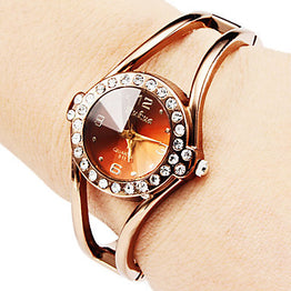 Luxury Rhinestone Bracelet Watch Rose Gold Watch for Womens