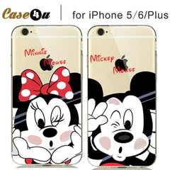Cartoon Minnie Mickey Mouse Soft Clear Case Cover for  iPhone 5S 6 6S 7 Plus