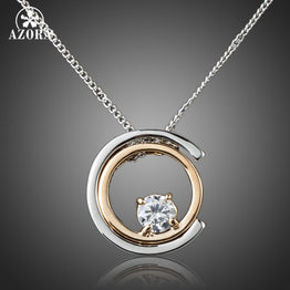 White Austrian Crystal Classic Platinum Plated Pendant Necklace