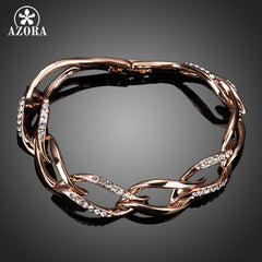 Austrian Crystal Rose Gold Plated 8 Leaves Connected Bracelet for Women