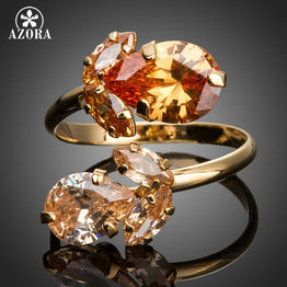 Cubic Zirconia Waterdrop AZORA Gold Plated Double Flowers Adjustable Ring