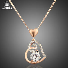 AZORA Rose Gold Plated Crystals Heart Pendant Necklace for Valentine's Day Gift