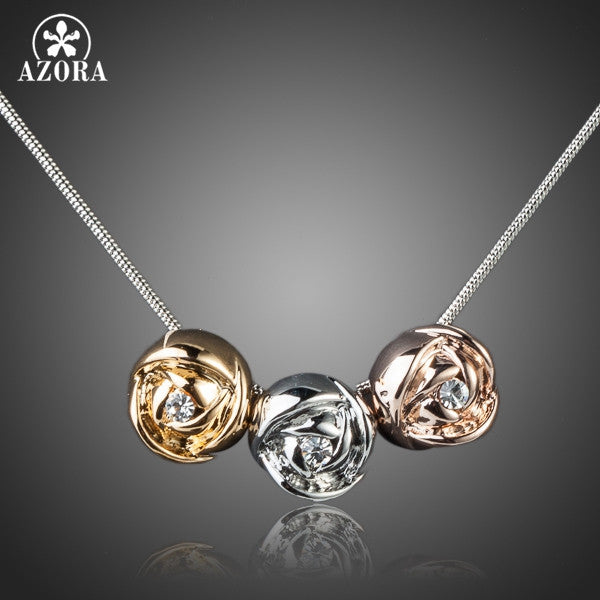 AZORA Platinum Plated Stellux Austrian Crystal 3pcs Roses Pendant Necklace