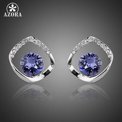 Blue Stellux Austrian Crystal White Gold Plated Earrings