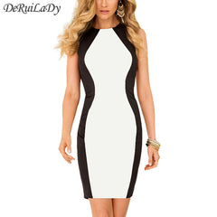 Black White Splice Women Dress Sleeveless Plus Size Sexy Dress