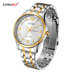 LONGBO Luxury Couple Watches Men Women Gold Stainless Steel Quartz