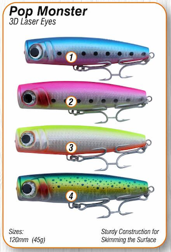 Asari Salt Water Lures | Pop Monster Series (4 Pack)